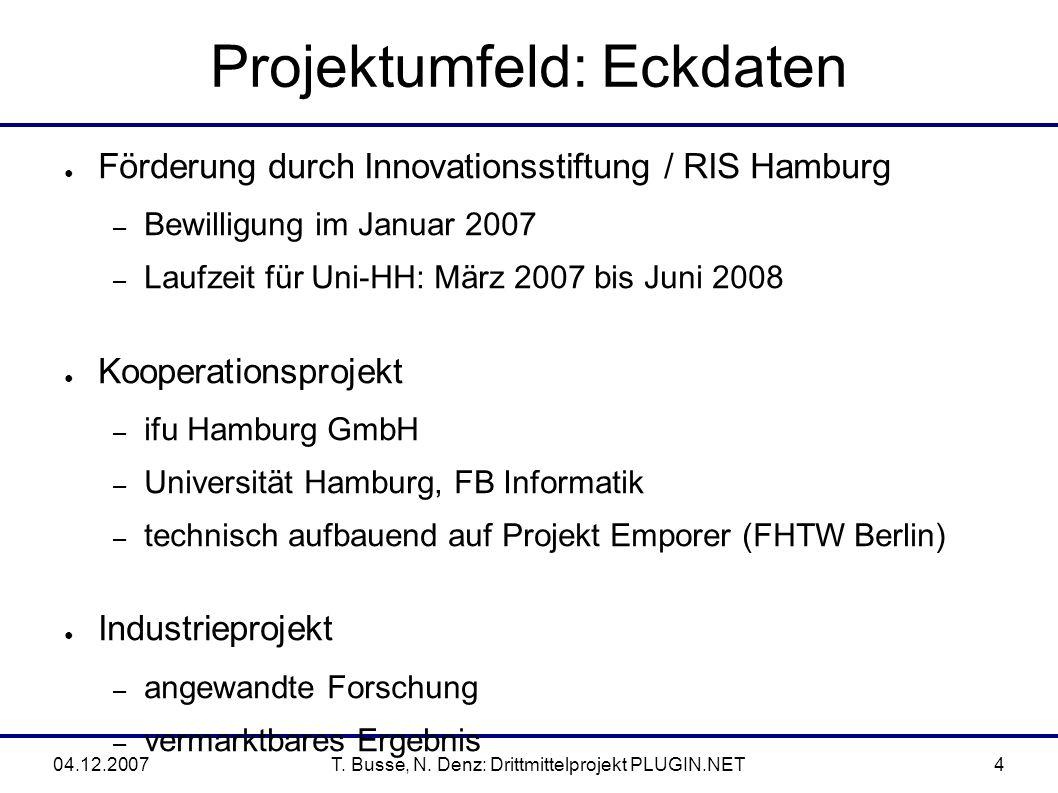 04.12.2007T.Busse, N. Denz: Drittmittelprojekt PLUGIN.NET15 3.