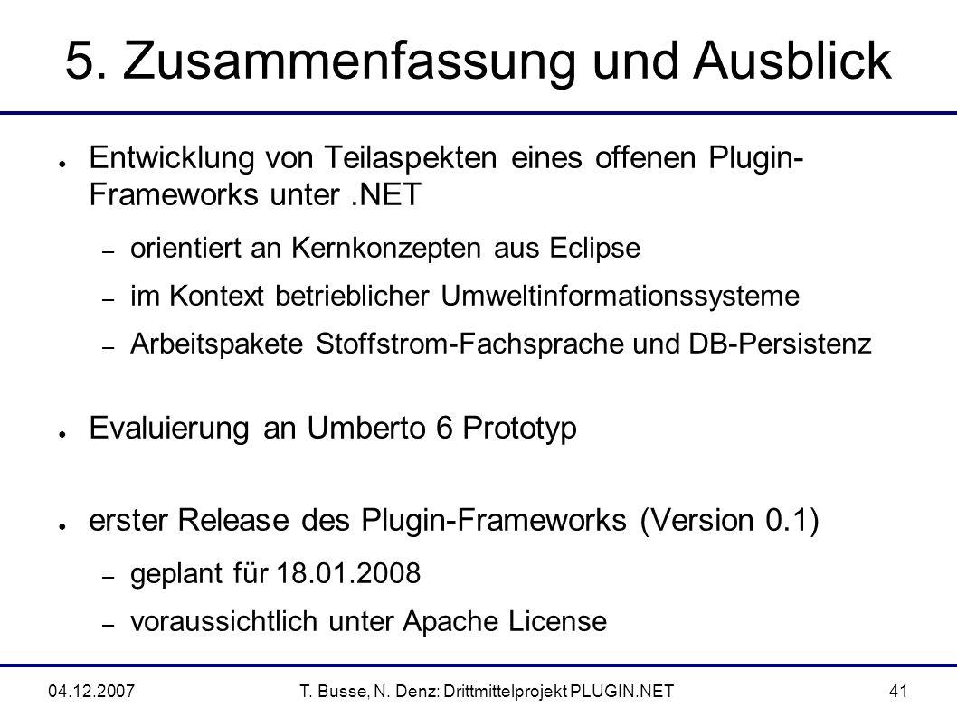04.12.2007T. Busse, N. Denz: Drittmittelprojekt PLUGIN.NET41 5.