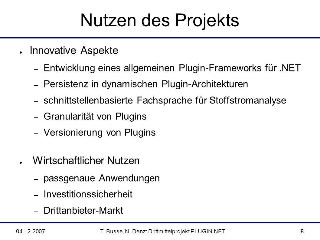 04.12.2007T.Busse, N. Denz: Drittmittelprojekt PLUGIN.NET19 4.