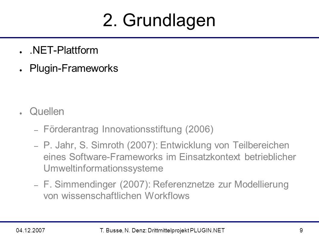 04.12.2007T.Busse, N. Denz: Drittmittelprojekt PLUGIN.NET40 Eine neue DSL.