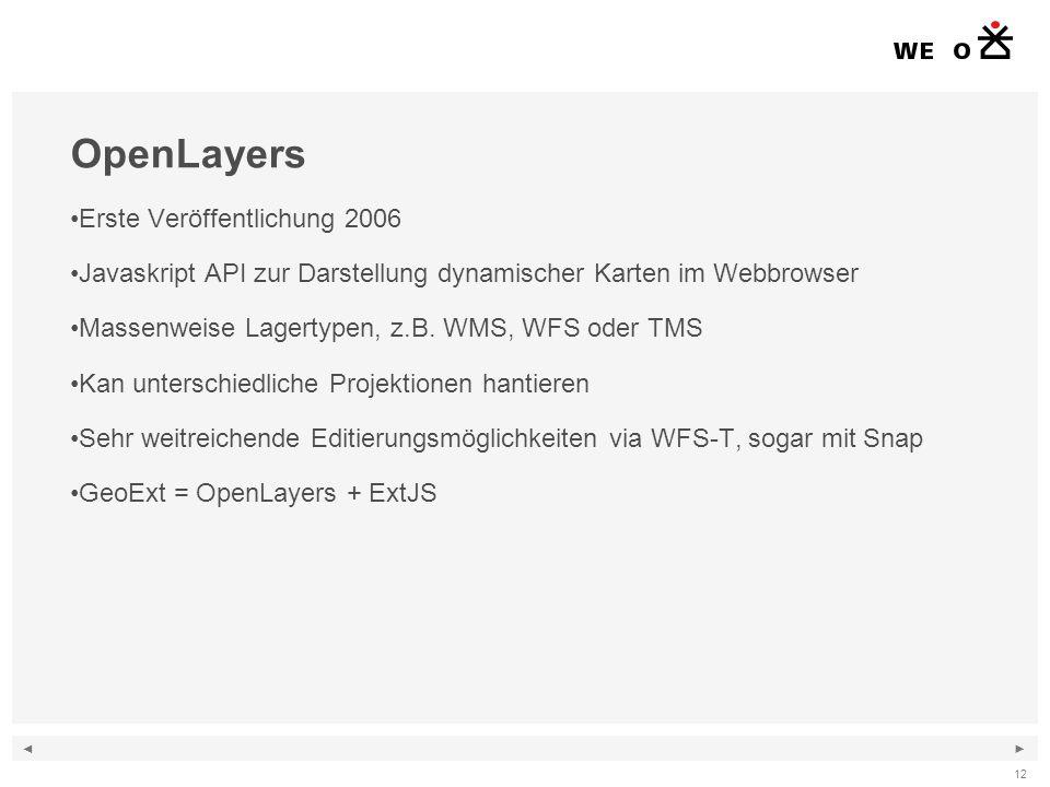 ◄ ► 12 OpenLayers Erste Veröffentlichung 2006 Javaskript API zur Darstellung dynamischer Karten im Webbrowser Massenweise Lagertypen, z.B.