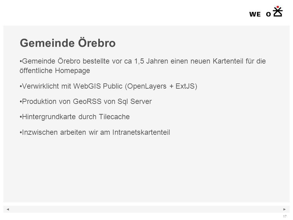 ◄ ► 17 Gemeinde Örebro Gemeinde Örebro bestellte vor ca 1,5 Jahren einen neuen Kartenteil für die öffentliche Homepage Verwirklicht mit WebGIS Public (OpenLayers + ExtJS) Produktion von GeoRSS von Sql Server Hintergrundkarte durch Tilecache Inzwischen arbeiten wir am Intranetskartenteil