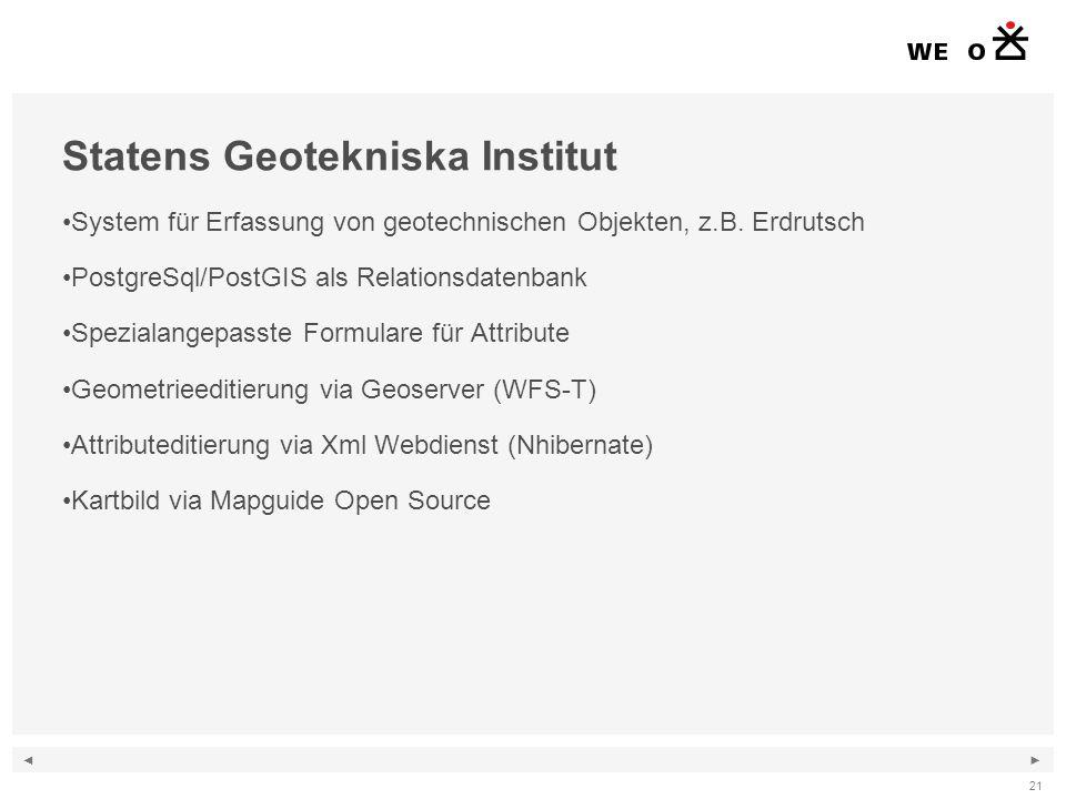 ◄ ► 21 Statens Geotekniska Institut System für Erfassung von geotechnischen Objekten, z.B.