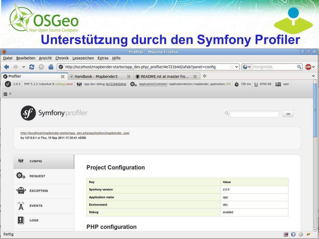 Mapbender3 – Astrid Emde FOSSGIS 2013 Rapperwil 14 / Unterstützung durch den Symfony Profiler