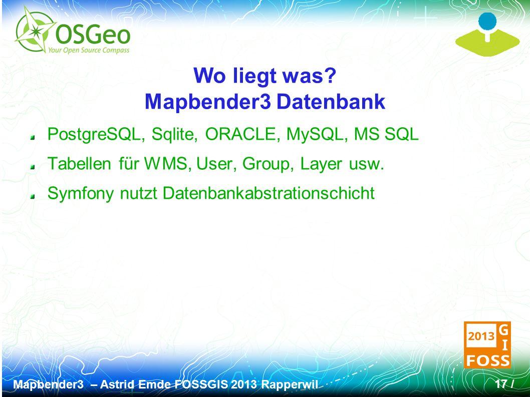 Mapbender3 – Astrid Emde FOSSGIS 2013 Rapperwil 17 / Wo liegt was? Mapbender3 Datenbank PostgreSQL, Sqlite, ORACLE, MySQL, MS SQL Tabellen für WMS, Us