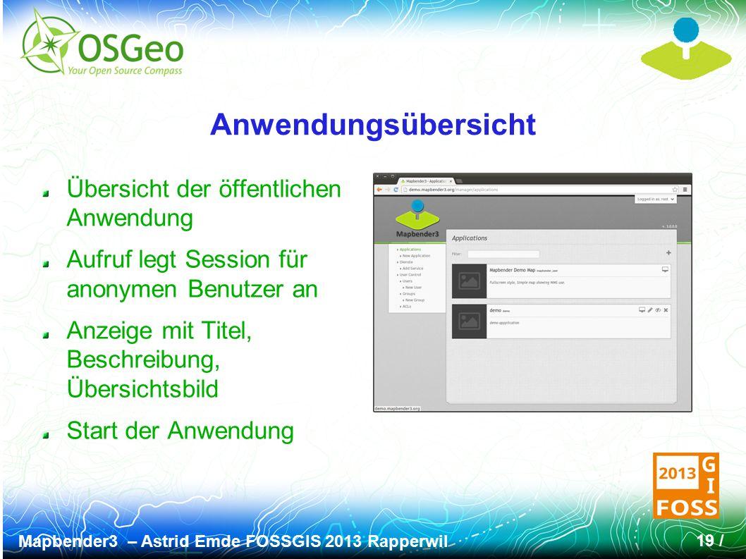 Mapbender3 – Astrid Emde FOSSGIS 2013 Rapperwil 19 / Anwendungsübersicht Übersicht der öffentlichen Anwendung Aufruf legt Session für anonymen Benutzer an Anzeige mit Titel, Beschreibung, Übersichtsbild Start der Anwendung