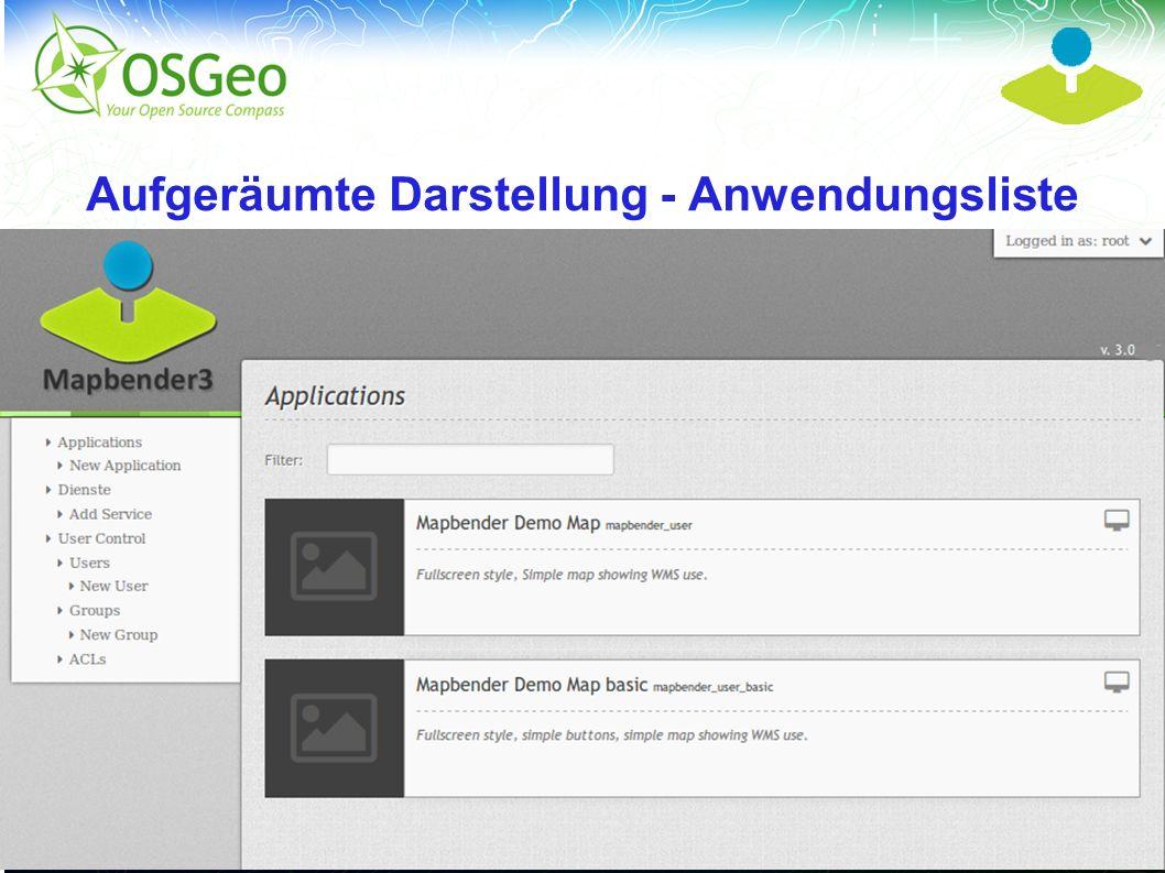 Mapbender3 – Astrid Emde FOSSGIS 2013 Rapperwil 21 / Aufgeräumte Darstellung - Anwendungsliste