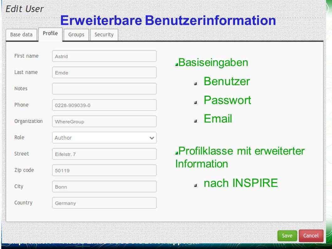 Mapbender3 – Astrid Emde FOSSGIS 2013 Rapperwil 24 / Erweiterbare Benutzerinformation Basiseingaben Benutzer Passwort Email Profilklasse mit erweitert