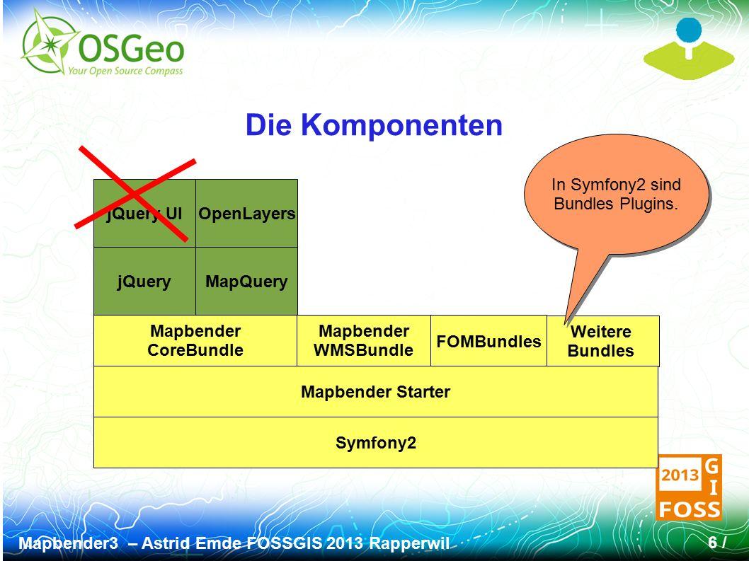 Mapbender3 – Astrid Emde FOSSGIS 2013 Rapperwil 6 / Weitere Bundles Die Komponenten Symfony2 Mapbender Starter Mapbender CoreBundle Mapbender WMSBundl