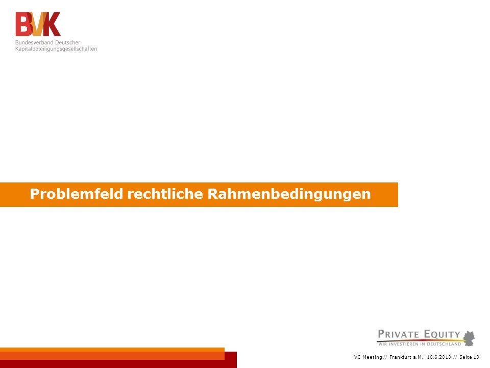 VC-Meeting // Frankfurt a.M., 16.6.2010 // Seite 10 Problemfeld rechtliche Rahmenbedingungen