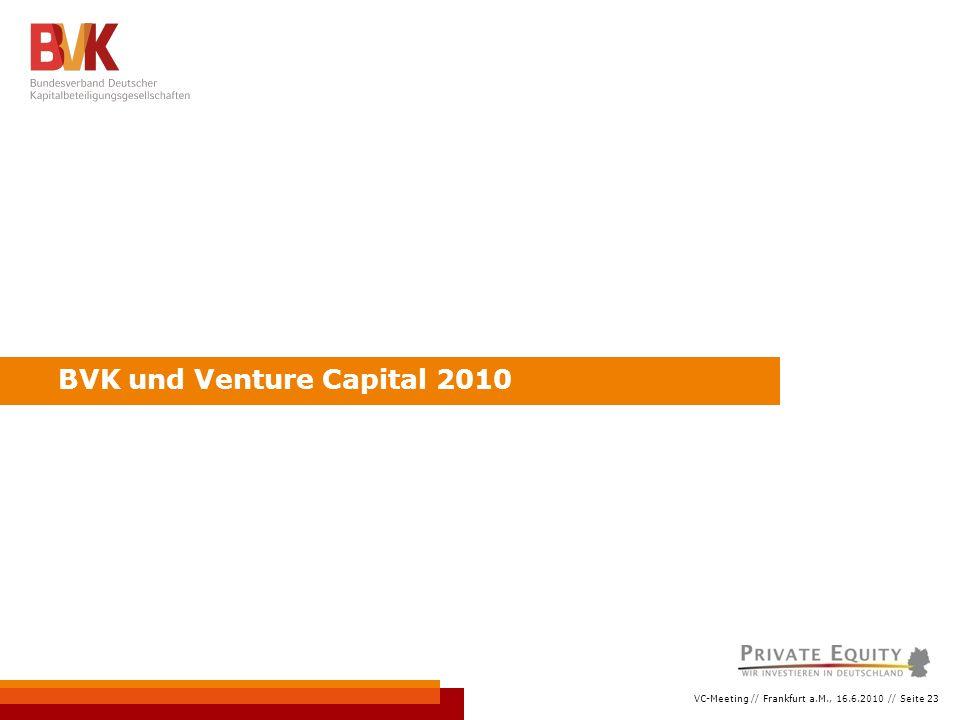 VC-Meeting // Frankfurt a.M., 16.6.2010 // Seite 23 BVK und Venture Capital 2010