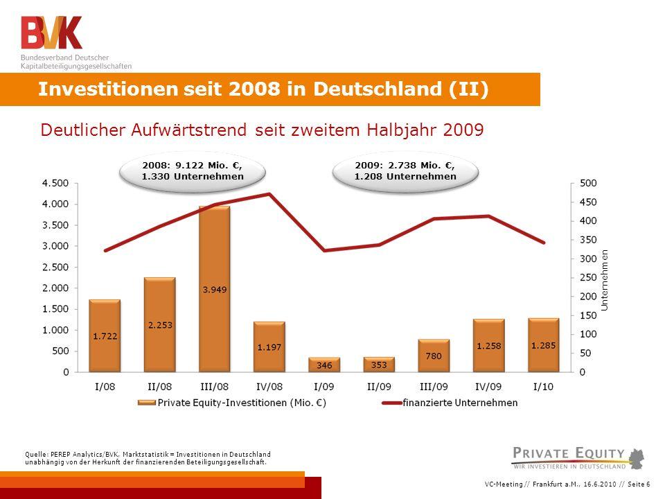 VC-Meeting // Frankfurt a.M., 16.6.2010 // Seite 6 Investitionen seit 2008 in Deutschland (II) Deutlicher Aufwärtstrend seit zweitem Halbjahr 2009 Quelle: PEREP Analytics/BVK, Marktstatistik = Investitionen in Deutschland unabhängig von der Herkunft der finanzierenden Beteiligungsgesellschaft.