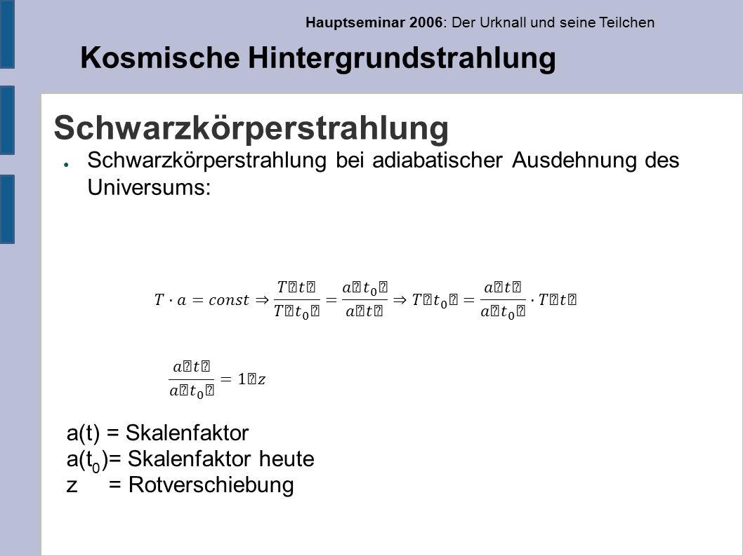 Hauptseminar 2006: Der Urknall und seine Teilchen Kosmische Hintergrundstrahlung Schwarzkörperstrahlung ● Schwarzkörperstrahlung bei adiabatischer Ausdehnung des Universums: a(t) = Skalenfaktor a(t 0 )= Skalenfaktor heute z = Rotverschiebung