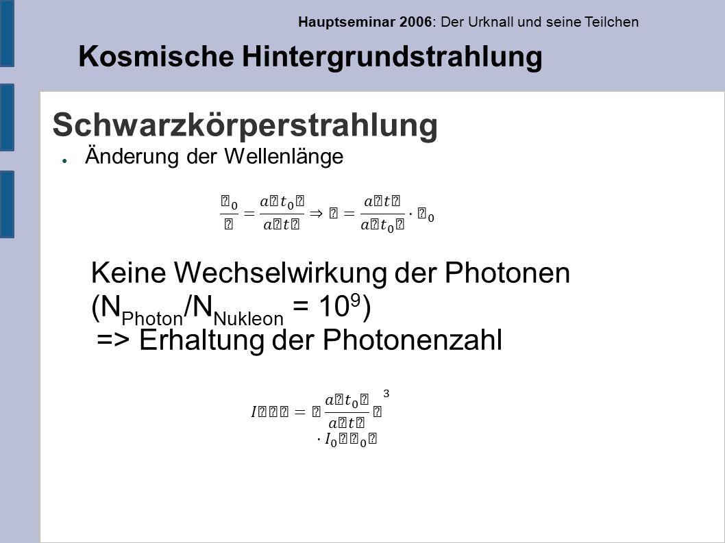 Hauptseminar 2006: Der Urknall und seine Teilchen Kosmische Hintergrundstrahlung Schwarzkörperstrahlung ● Änderung der Wellenlänge Keine Wechselwirkung der Photonen (N Photon /N Nukleon = 10 9 ) => Erhaltung der Photonenzahl