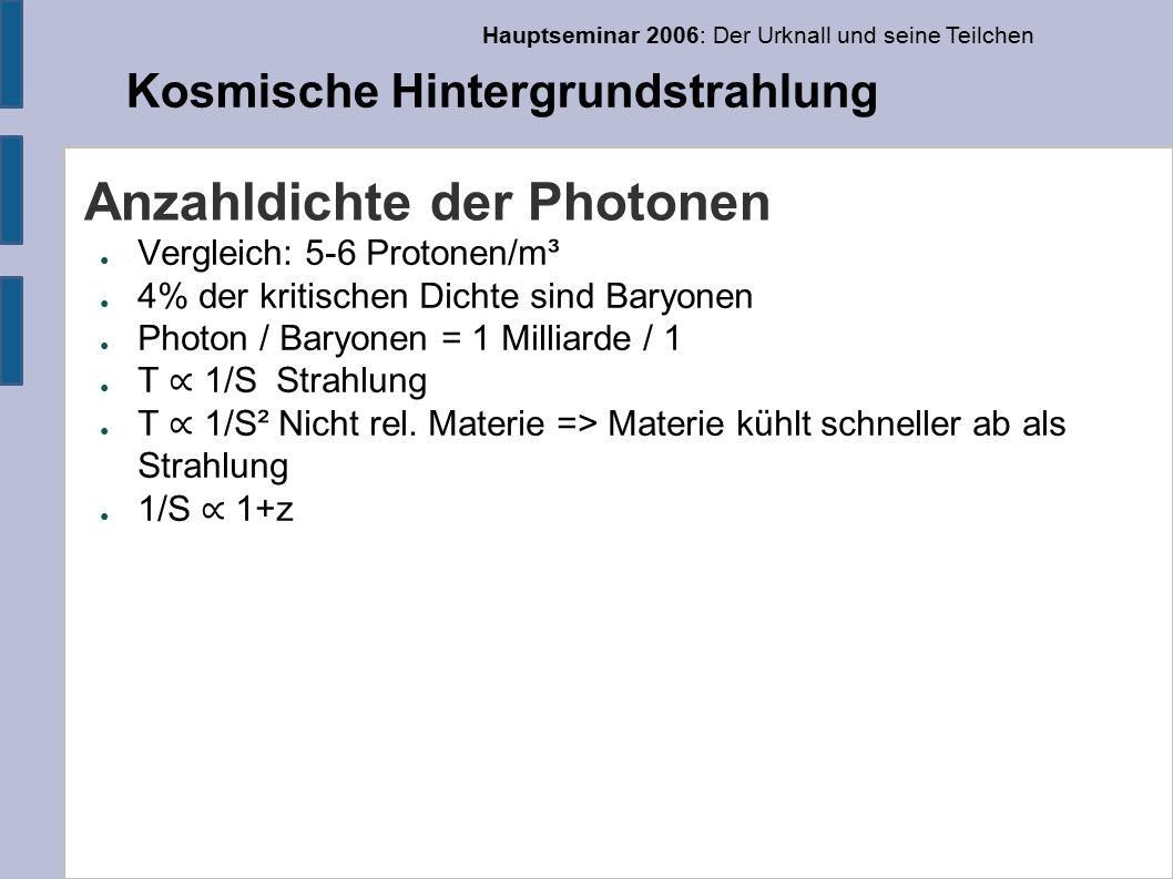 Hauptseminar 2006: Der Urknall und seine Teilchen Kosmische Hintergrundstrahlung Anzahldichte der Photonen ● Vergleich: 5-6 Protonen/m³ ● 4% der kritischen Dichte sind Baryonen ● Photon / Baryonen = 1 Milliarde / 1 ● T ∝ 1/S Strahlung ● T ∝ 1/S² Nicht rel.