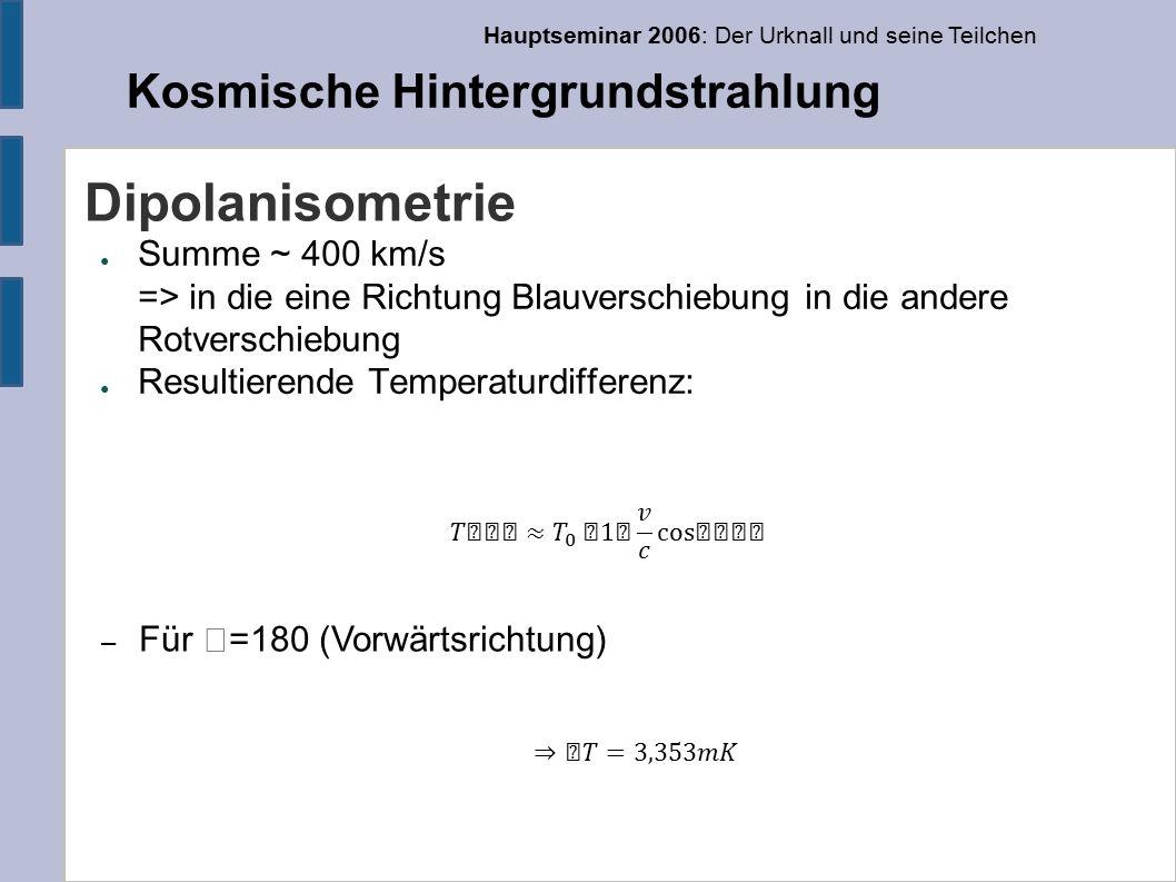 Hauptseminar 2006: Der Urknall und seine Teilchen Kosmische Hintergrundstrahlung Dipolanisometrie ● Summe ~ 400 km/s => in die eine Richtung Blauverschiebung in die andere Rotverschiebung ● Resultierende Temperaturdifferenz: – Für =180 (Vorwärtsrichtung)