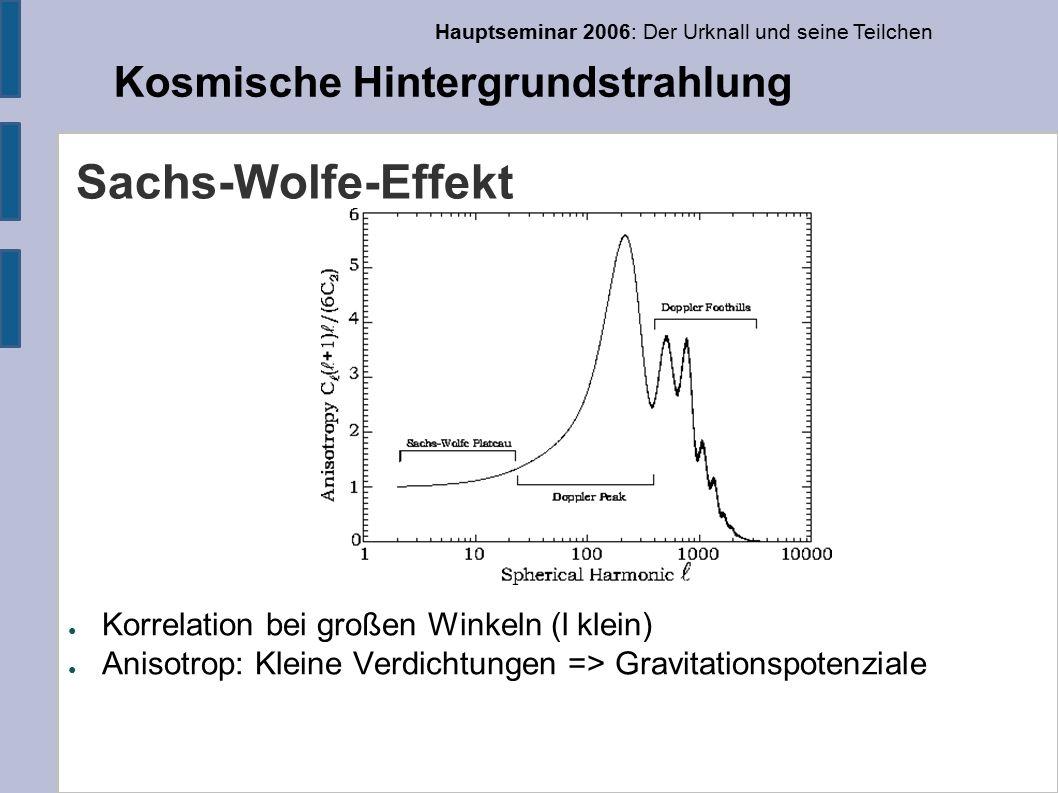 Hauptseminar 2006: Der Urknall und seine Teilchen Kosmische Hintergrundstrahlung Sachs-Wolfe-Effekt ● Korrelation bei großen Winkeln (l klein) ● Anisotrop: Kleine Verdichtungen => Gravitationspotenziale