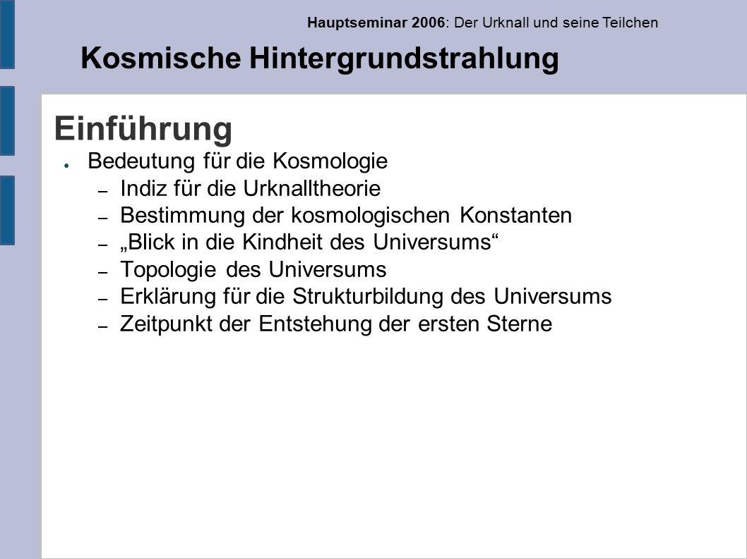 Hauptseminar 2006: Der Urknall und seine Teilchen Kosmische Hintergrundstrahlung Anzahldichte der Photonen ● Photonen im Frequenzintervall (v,v+dv) (Planck-Gesetz) – Integrieren gibt die Anzahldichte: – Jedes Photon hat Energie hv, integriere (Stefan-Boltzman- Gesetz)