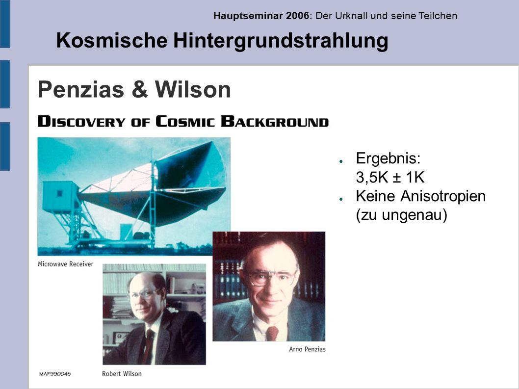 Hauptseminar 2006: Der Urknall und seine Teilchen Kosmische Hintergrundstrahlung Penzias & Wilson ● Ergebnis: 3,5K ± 1K ● Keine Anisotropien (zu ungenau)