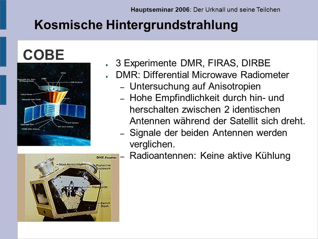 Hauptseminar 2006: Der Urknall und seine Teilchen Kosmische Hintergrundstrahlung COBE ● 3 Experimente DMR, FIRAS, DIRBE ● DMR: Differential Microwave Radiometer – Untersuchung auf Anisotropien – Hohe Empfindlichkeit durch hin- und herschalten zwischen 2 identischen Antennen während der Satellit sich dreht.
