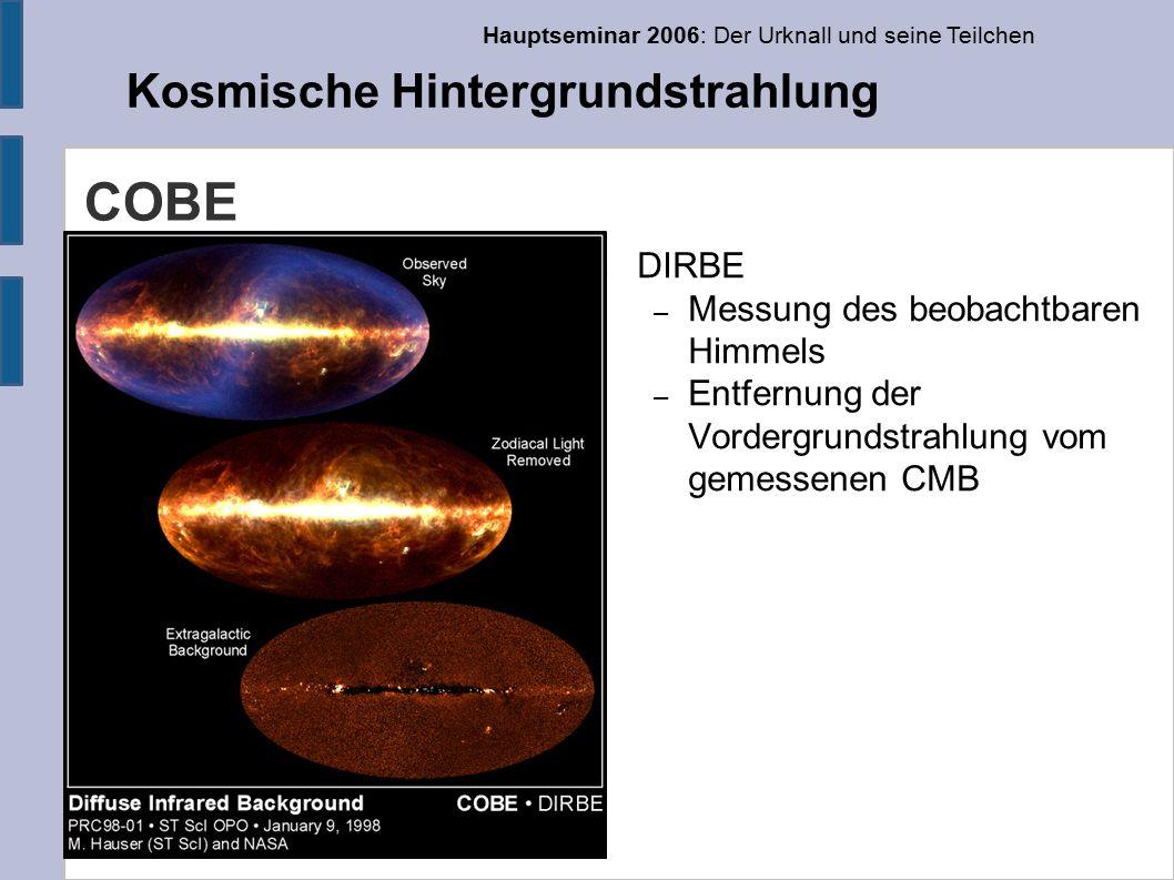Hauptseminar 2006: Der Urknall und seine Teilchen Kosmische Hintergrundstrahlung COBE ● DIRBE – Messung des beobachtbaren Himmels – Entfernung der Vordergrundstrahlung vom gemessenen CMB