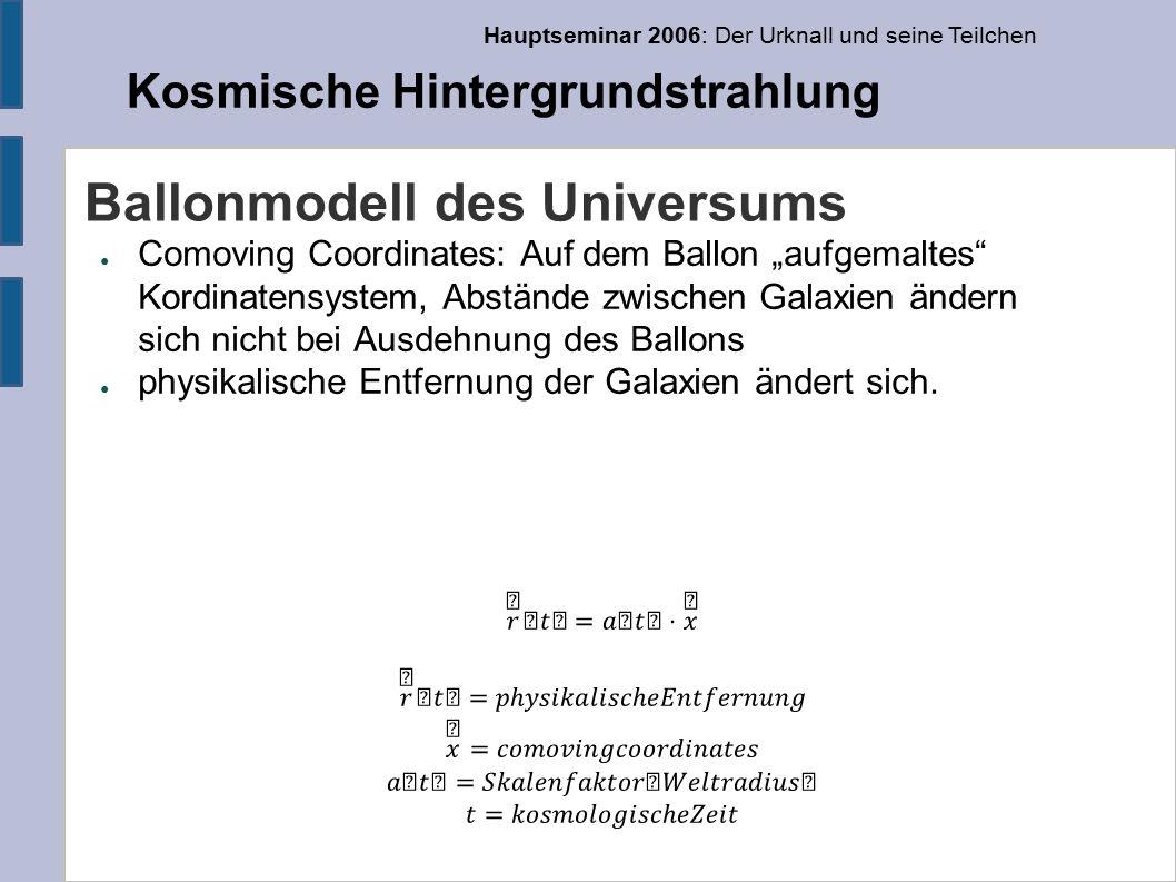 Hauptseminar 2006: Der Urknall und seine Teilchen Kosmische Hintergrundstrahlung COBE – Bestätigung des Schwarzkörperspektrums mit hoher Genauigkeit 2,728 ± 0,004 K