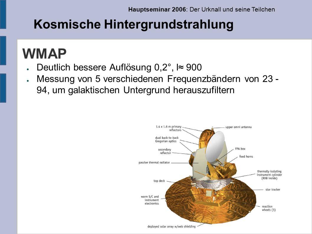 Hauptseminar 2006: Der Urknall und seine Teilchen Kosmische Hintergrundstrahlung WMAP ● Deutlich bessere Auflösung 0,2°, l≈ 900 ● Messung von 5 verschiedenen Frequenzbändern von 23 - 94, um galaktischen Untergrund herauszufiltern