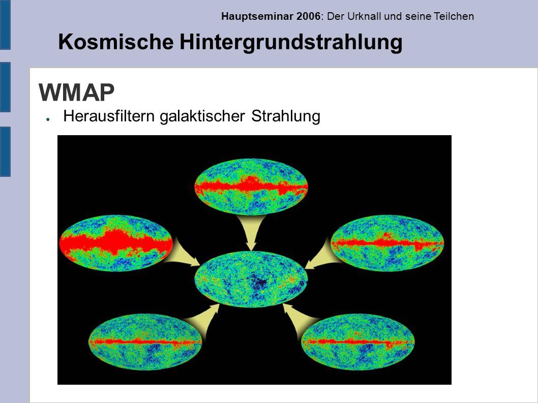 Hauptseminar 2006: Der Urknall und seine Teilchen Kosmische Hintergrundstrahlung WMAP ● Herausfiltern galaktischer Strahlung