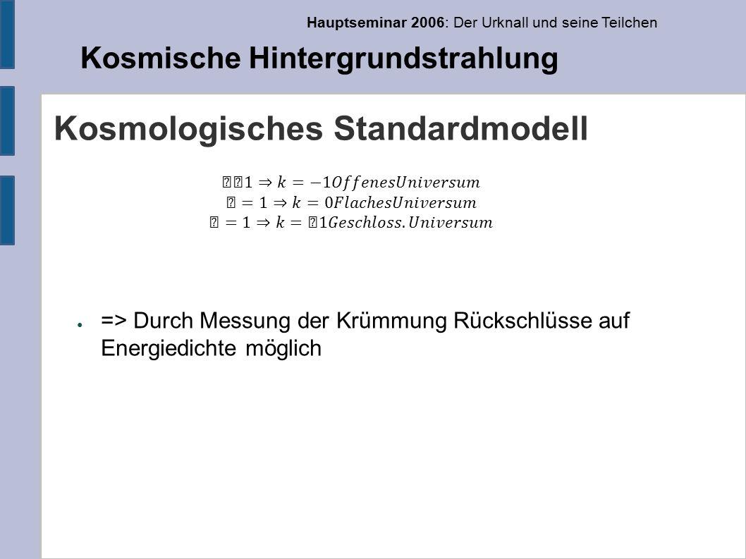 Hauptseminar 2006: Der Urknall und seine Teilchen Kosmische Hintergrundstrahlung Kosmologisches Standardmodell ● => Durch Messung der Krümmung Rückschlüsse auf Energiedichte möglich