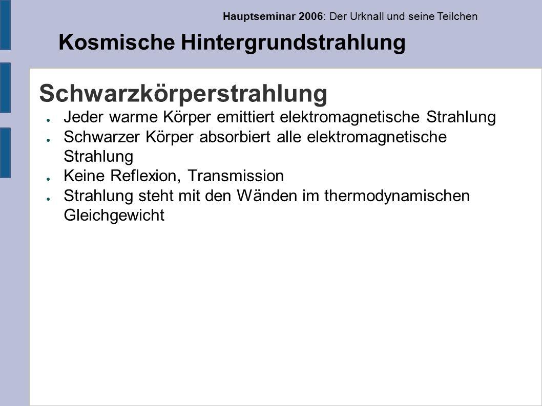 Hauptseminar 2006: Der Urknall und seine Teilchen Kosmische Hintergrundstrahlung Elementverteilung