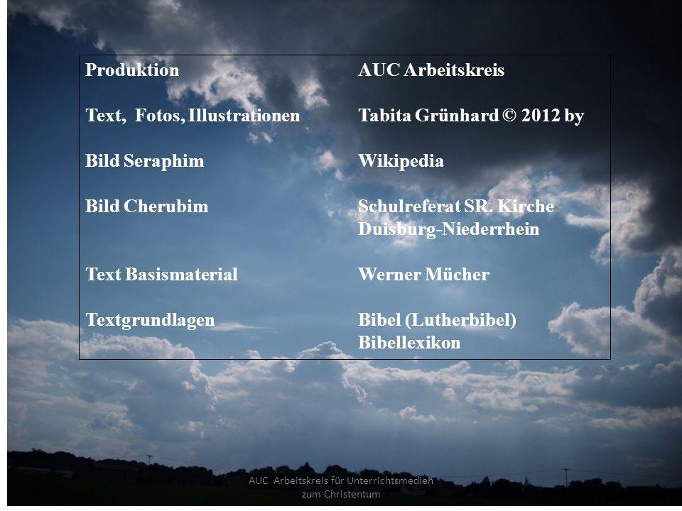 AUC Arbeitskreis für Unterrichtsmedien zum Christentum ProduktionAUC Arbeitskreis Text, Fotos, IllustrationenTabita Grünhard © 2012 by Bild SeraphimWikipedia Bild Cherubim Schulreferat SR.