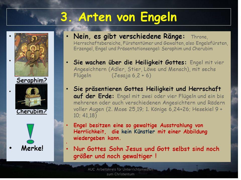 AUC Arbeitskreis für Unterrichtsmedien zum Christentum 3. Arten von Engeln Sind alle Engel gleich? Was sind Engel mit dem Namen Seraphim? Was sind Eng