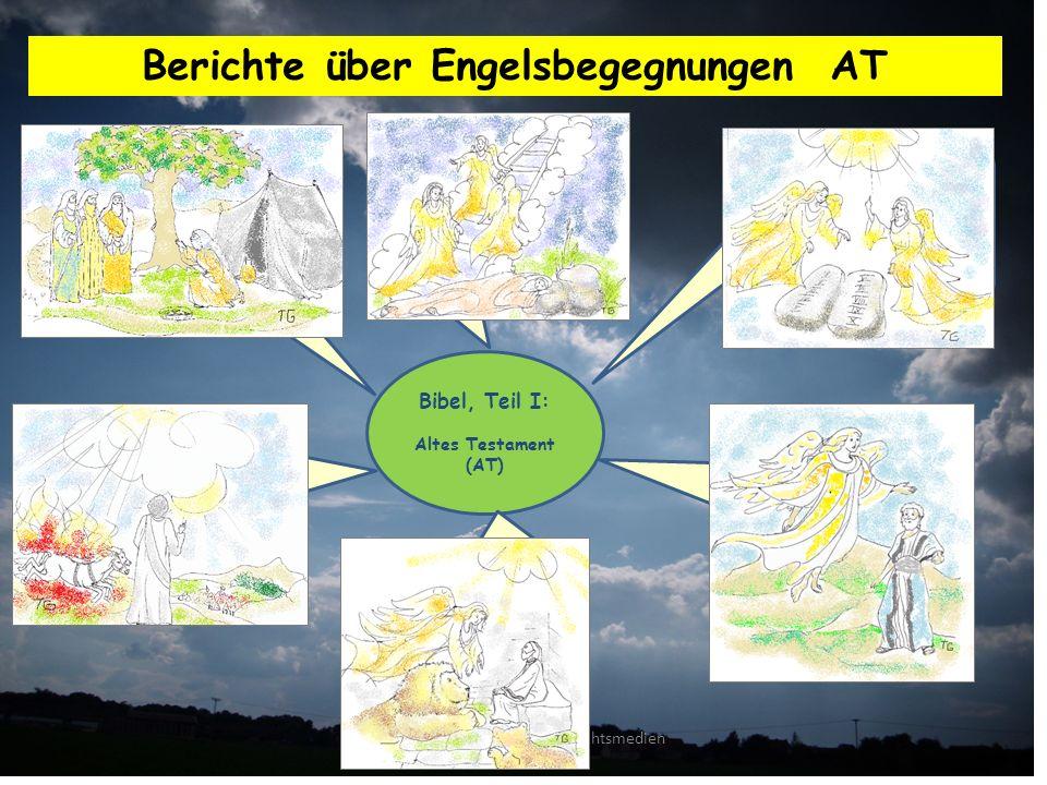 AUC Arbeitskreis für Unterrichtsmedien zum Christentum Berichte über Engelsbegegnungen AT Bibel, Teil I: Altes Testament (AT) Engelbesuch bei Abraham, zusammen mit dem Engel des Herrn (1.Mose 18; 19).