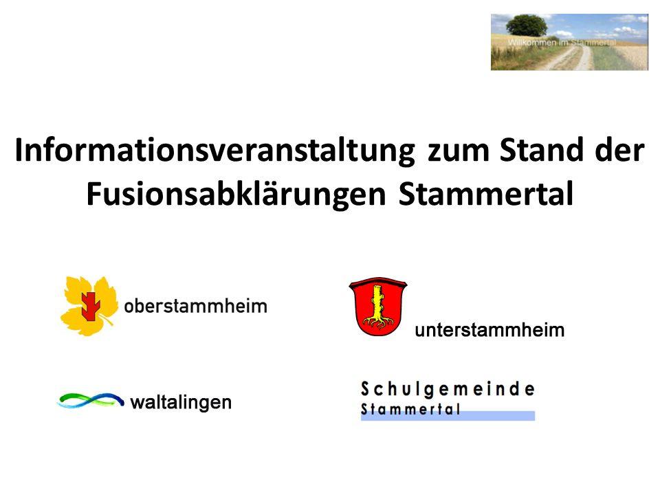 Informationsveranstaltung zum Stand der Fusionsabklärungen Stammertal