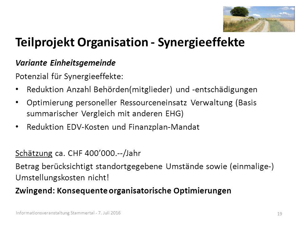 Teilprojekt Organisation - Synergieeffekte Informationsveranstaltung Stammertal - 7.
