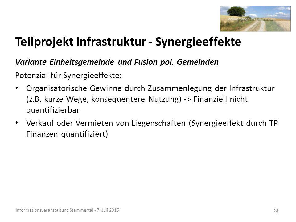 Teilprojekt Infrastruktur - Synergieeffekte Informationsveranstaltung Stammertal - 7.