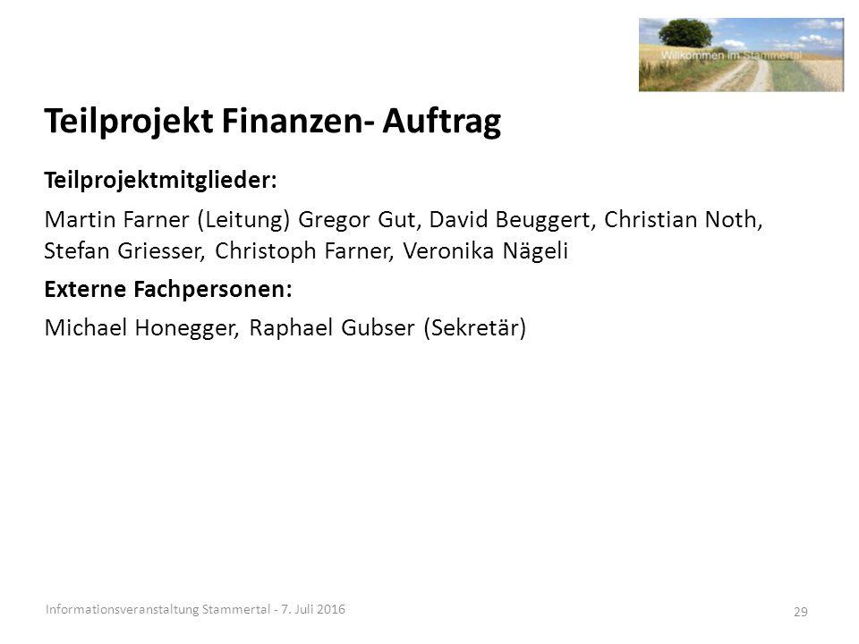 Teilprojekt Finanzen- Auftrag Informationsveranstaltung Stammertal - 7.