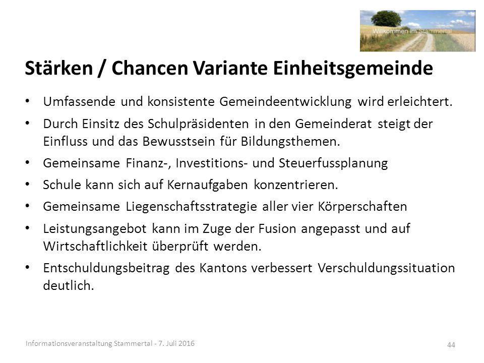 Stärken / Chancen Variante Einheitsgemeinde Informationsveranstaltung Stammertal - 7.