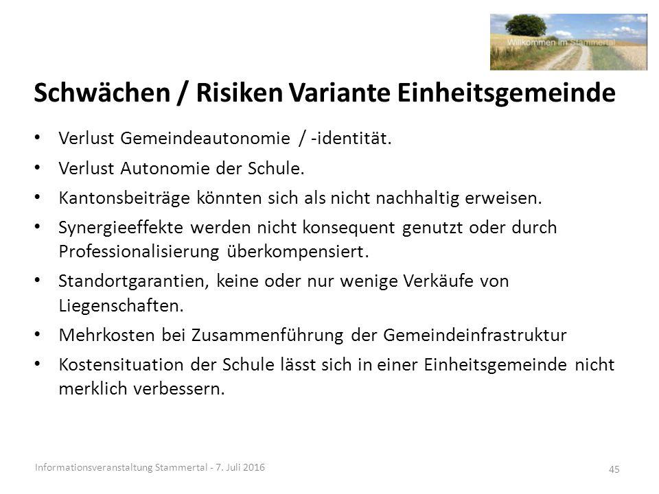 Schwächen / Risiken Variante Einheitsgemeinde Informationsveranstaltung Stammertal - 7.