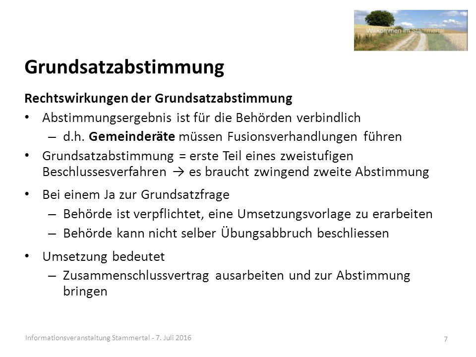 Teilprojekt Finanzen- Ergebnisse Informationsveranstaltung Stammertal - 7.
