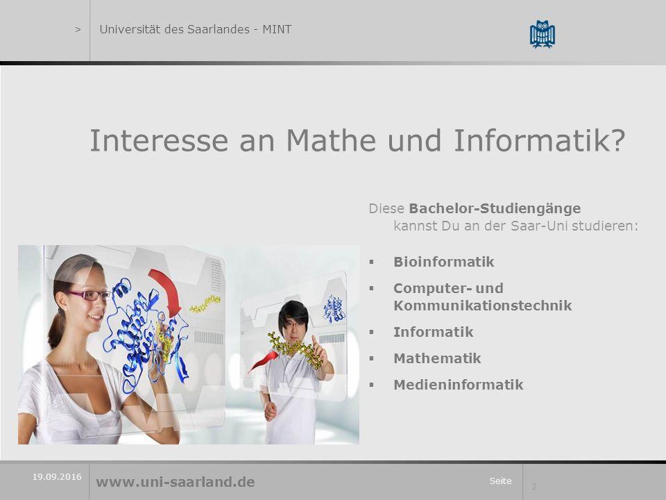 Seite 2 19.09.2016 Interesse an Mathe und Informatik.