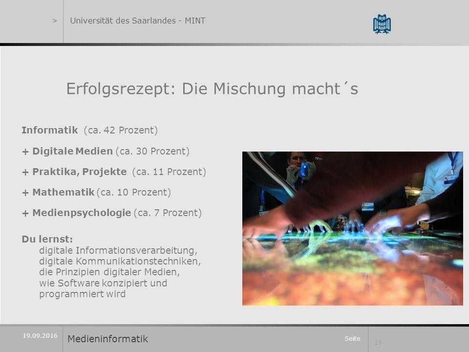 Seite 21 19.09.2016 Erfolgsrezept: Die Mischung macht´s Informatik (ca.