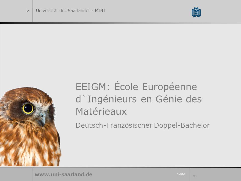 Seite 36 EEIGM: École Européenne d`Ingénieurs en Génie des Matérieaux Deutsch-Französischer Doppel-Bachelor www.uni-saarland.de >Universität des Saarlandes - MINT