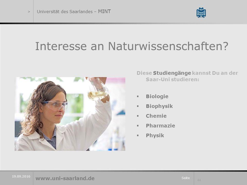 Seite 44 19.09.2016 Interesse an Naturwissenschaften.