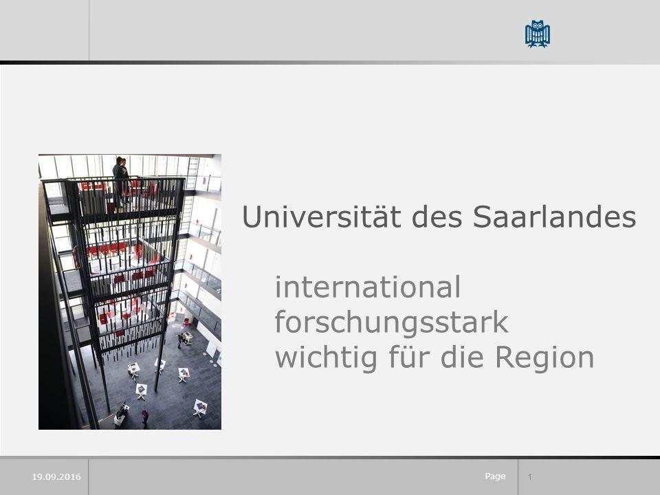 Page 1 Universität des Saarlandes international forschungsstark wichtig für die Region 19.09.2016