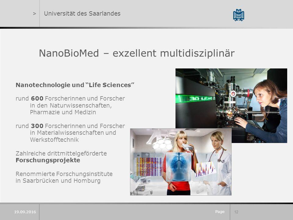 """Page 12 19.09.2016 >Universität des Saarlandes NanoBioMed – exzellent multidisziplinär Nanotechnologie und """"Life Sciences"""" rund 600 Forscherinnen und"""