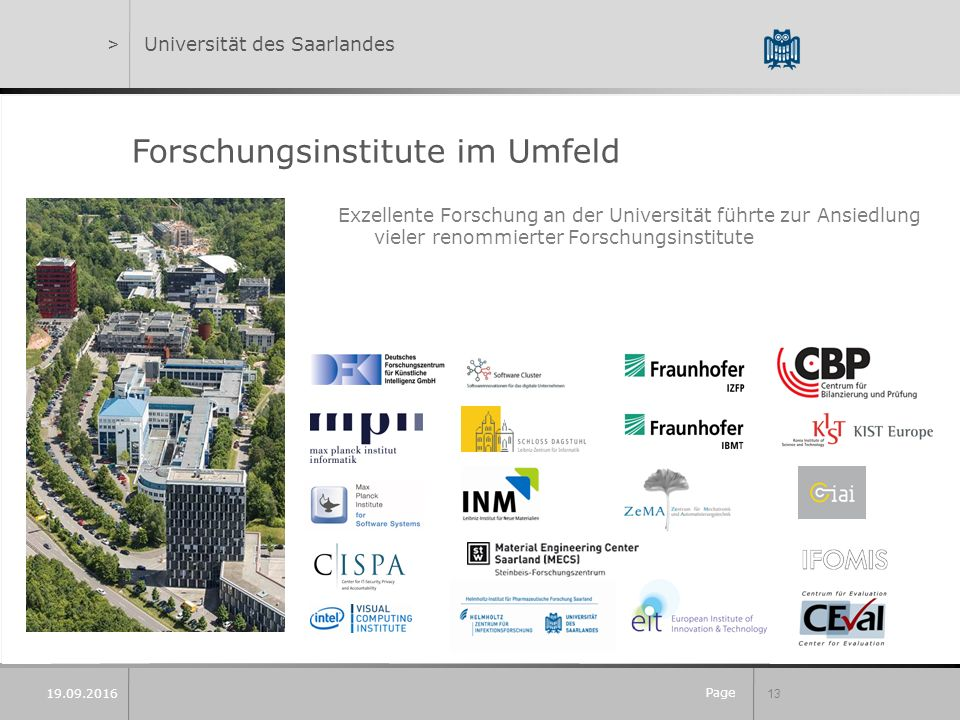 Page 13 Forschungsinstitute im Umfeld >Universität des Saarlandes Exzellente Forschung an der Universität führte zur Ansiedlung vieler renommierter Forschungsinstitute 19.09.2016