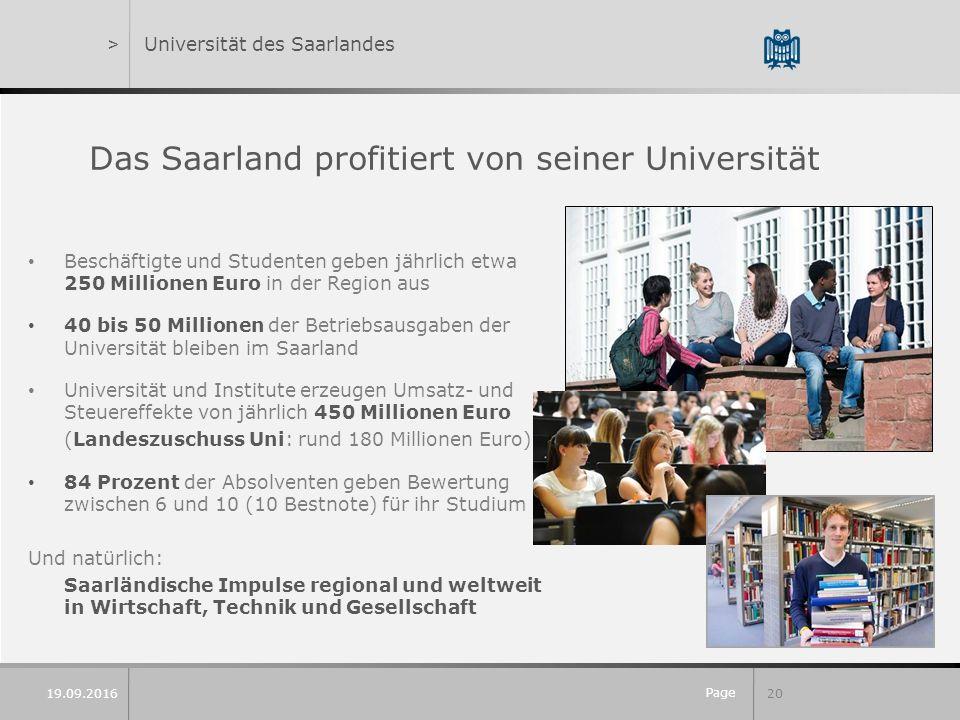 Page 20 19.09.2016 >Universität des Saarlandes Das Saarland profitiert von seiner Universität Beschäftigte und Studenten geben jährlich etwa 250 Milli