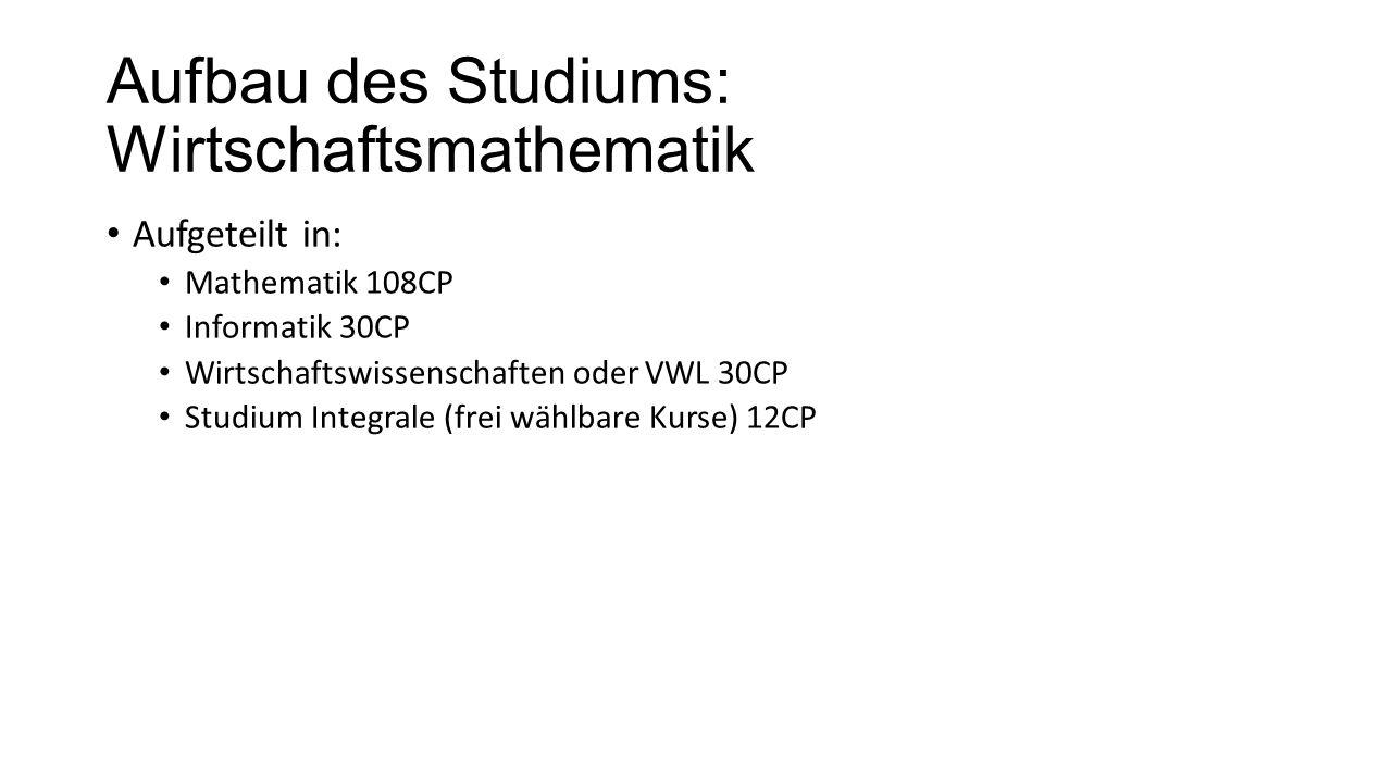 Aufbau des Studiums: Wirtschaftsmathematik Aufgeteilt in: Mathematik 108CP Informatik 30CP Wirtschaftswissenschaften oder VWL 30CP Studium Integrale (frei wählbare Kurse) 12CP