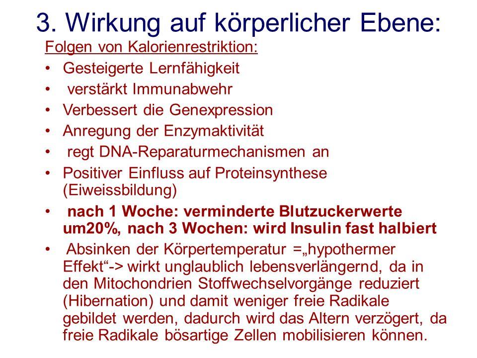 3. Wirkung auf körperlicher Ebene: Folgen von Kalorienrestriktion: Gesteigerte Lernfähigkeit verstärkt Immunabwehr Verbessert die Genexpression Anregu